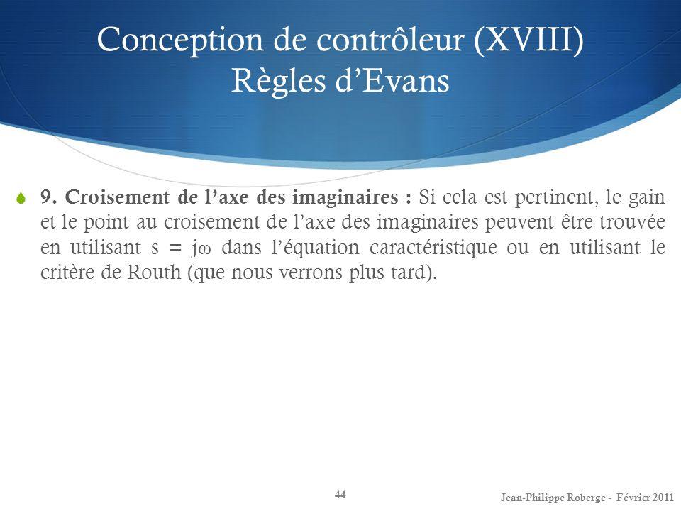 Conception de contrôleur (XVIII) Règles d'Evans