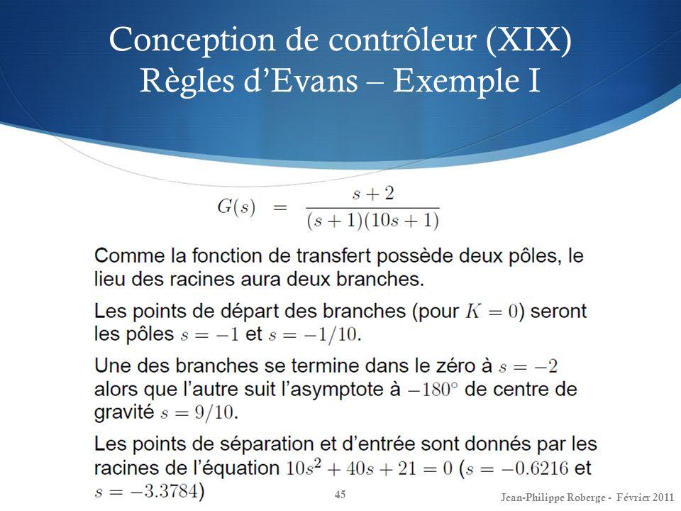 Conception de contrôleur (XIX) Règles d'Evans – Exemple I