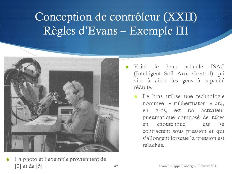 Conception de contrôleur (XXII) Règles d'Evans – Exemple III