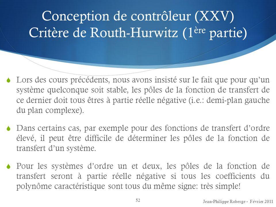 Conception de contrôleur (XXV) Critère de Routh-Hurwitz (1ère partie)