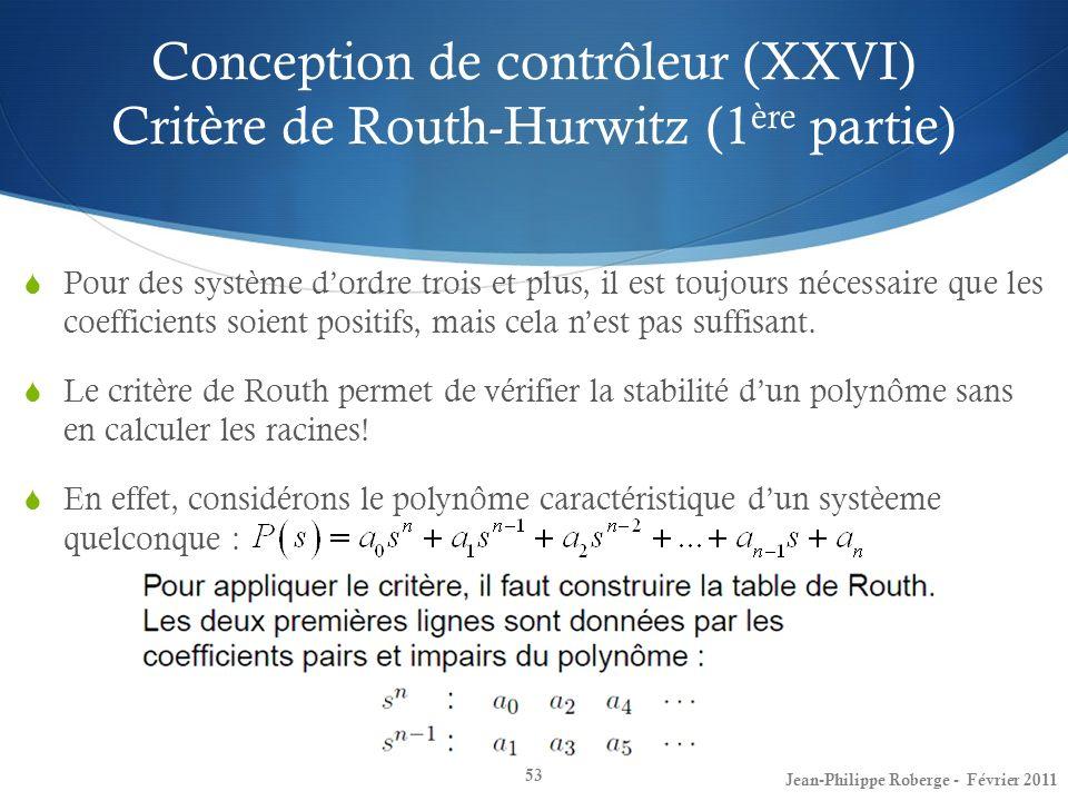 Conception de contrôleur (XXVI) Critère de Routh-Hurwitz (1ère partie)