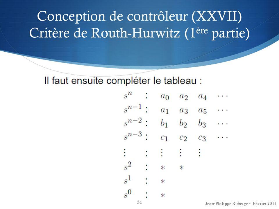 Conception de contrôleur (XXVII) Critère de Routh-Hurwitz (1ère partie)