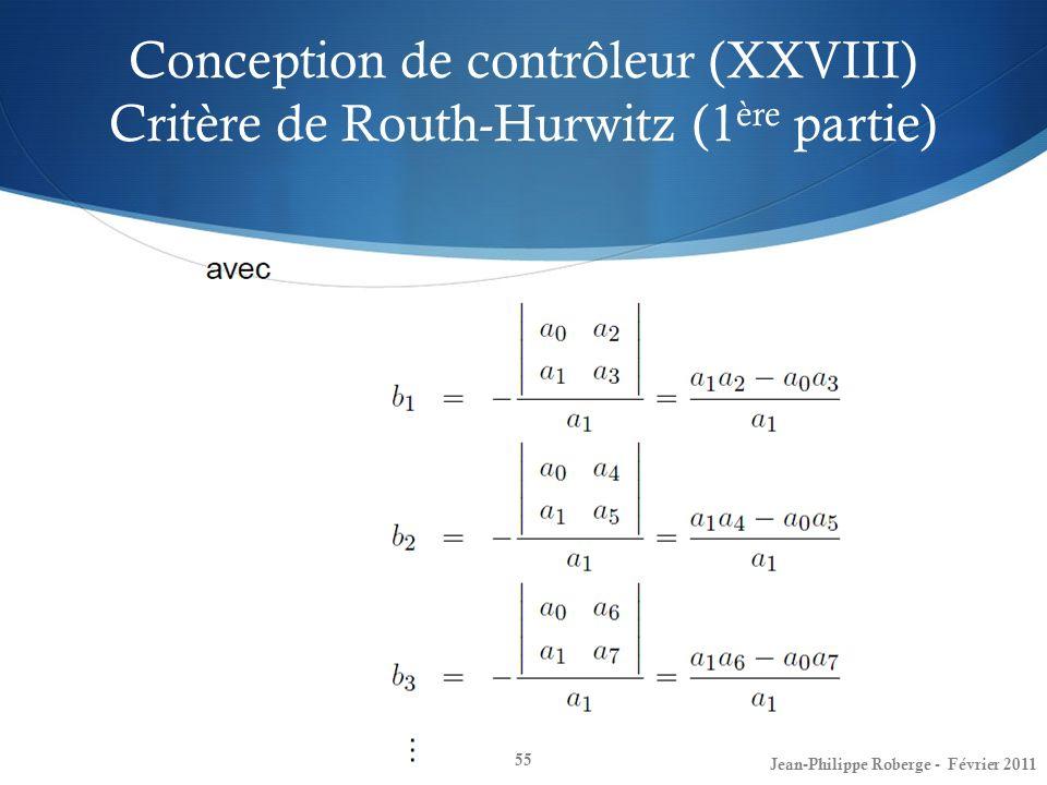 Conception de contrôleur (XXVIII) Critère de Routh-Hurwitz (1ère partie)