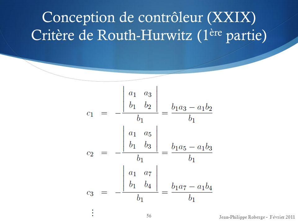 Conception de contrôleur (XXIX) Critère de Routh-Hurwitz (1ère partie)