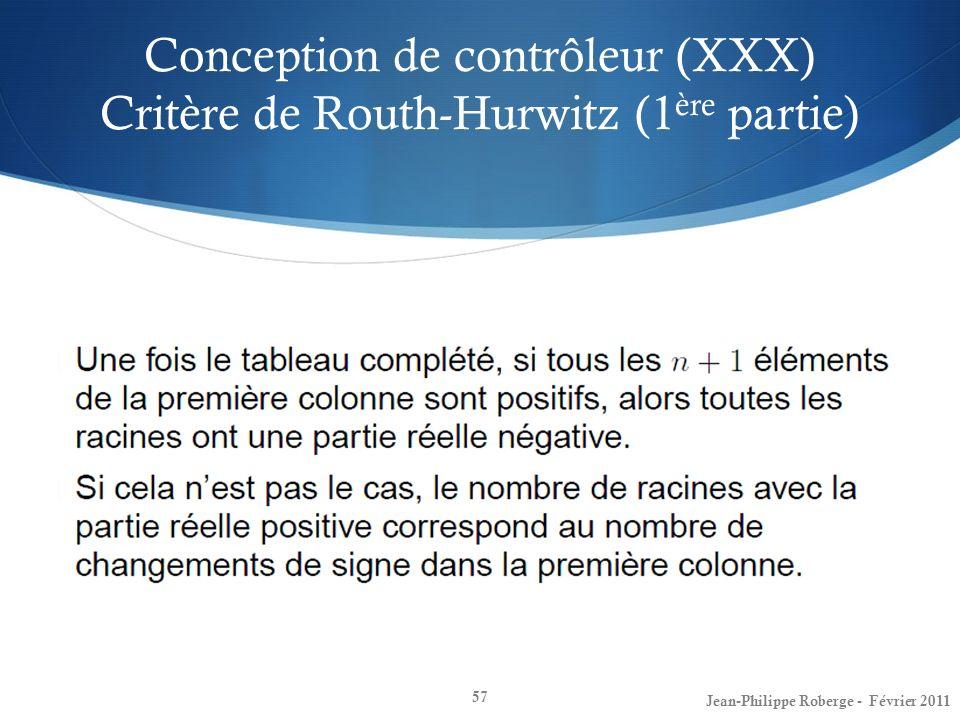 Conception de contrôleur (XXX) Critère de Routh-Hurwitz (1ère partie)