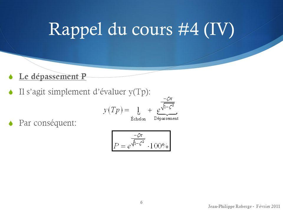 Rappel du cours #4 (IV) Le dépassement P