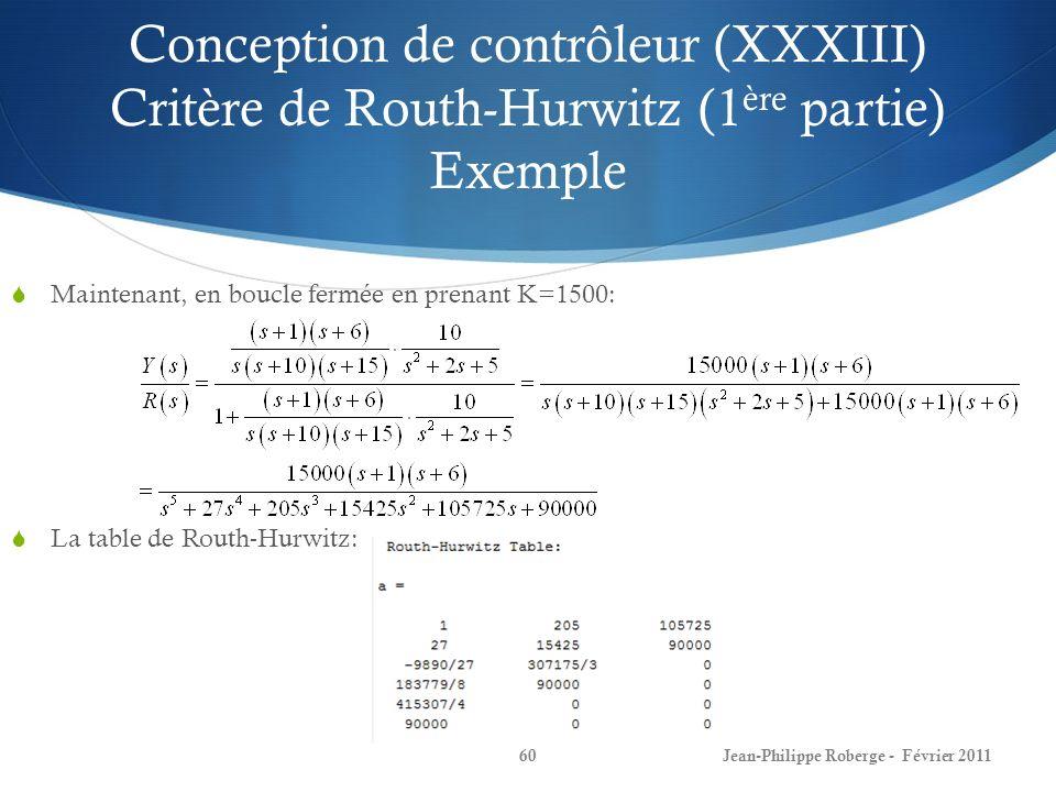Conception de contrôleur (XXXIII) Critère de Routh-Hurwitz (1ère partie) Exemple