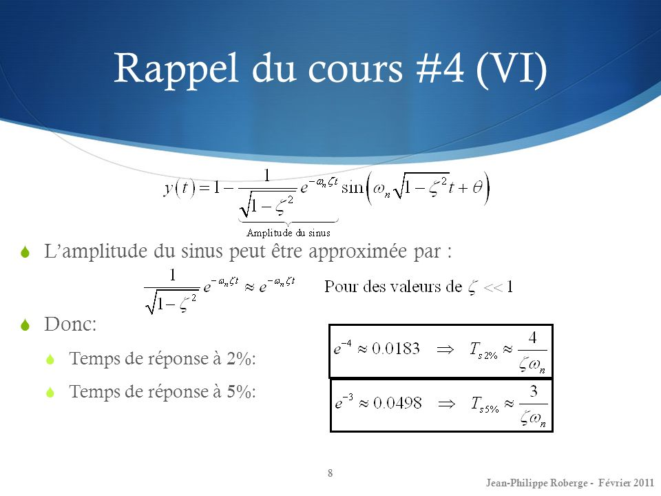 Rappel du cours #4 (VI) L'amplitude du sinus peut être approximée par : Donc: Temps de réponse à 2%: