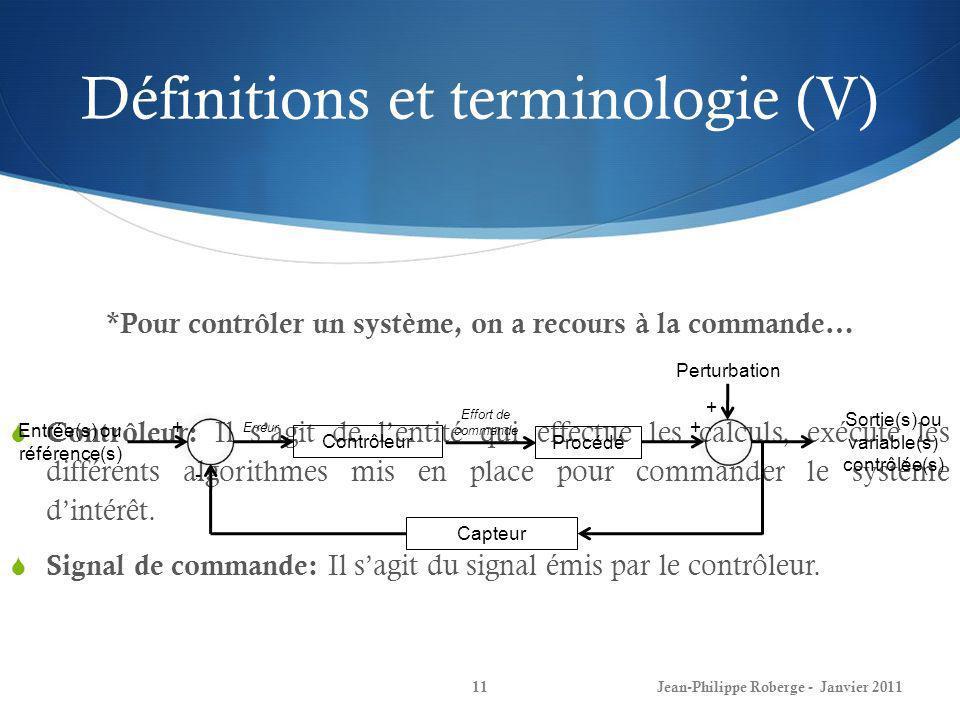 Définitions et terminologie (V)