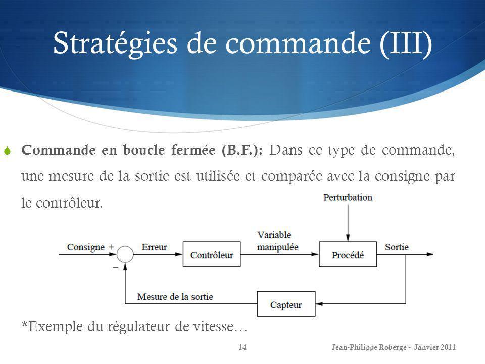 Stratégies de commande (III)