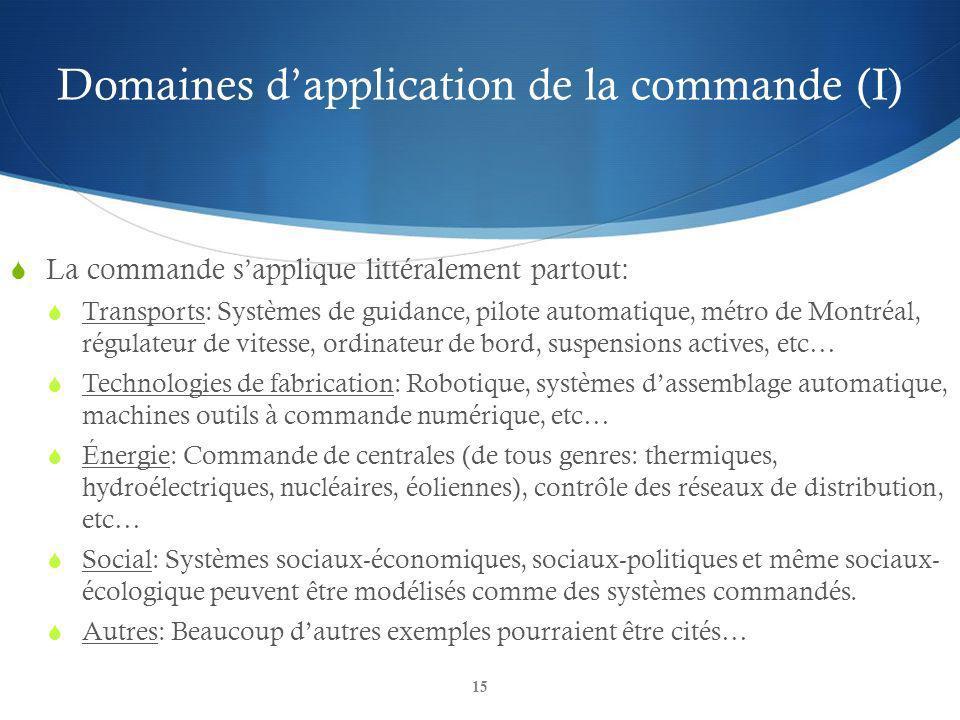 Domaines d'application de la commande (I)