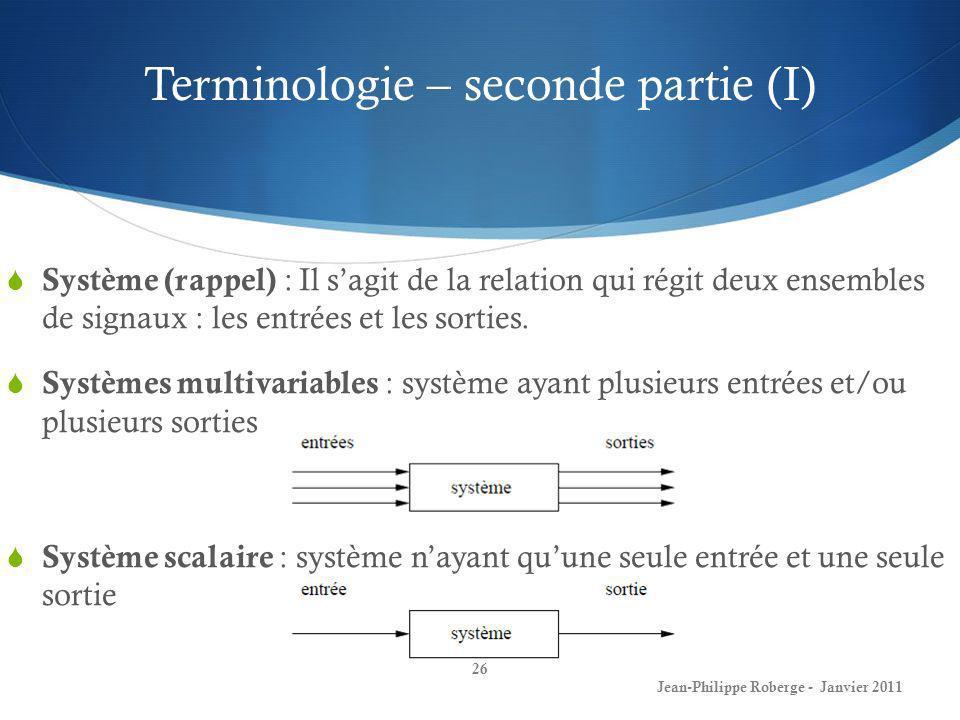 Terminologie – seconde partie (I)