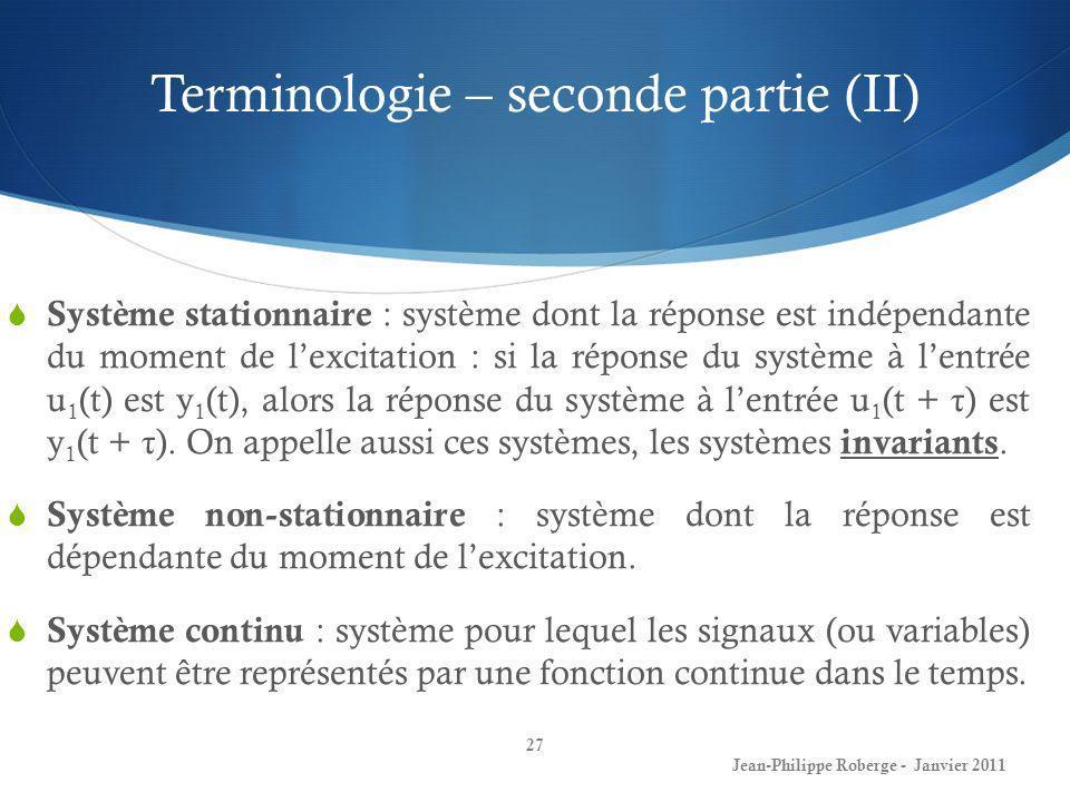 Terminologie – seconde partie (II)
