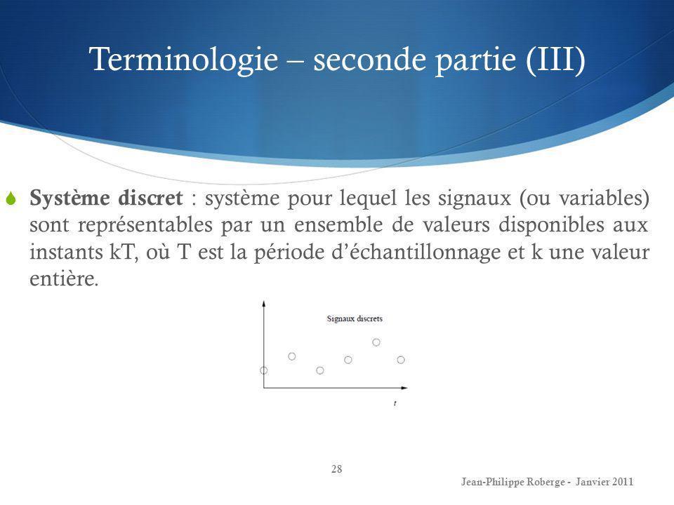 Terminologie – seconde partie (III)
