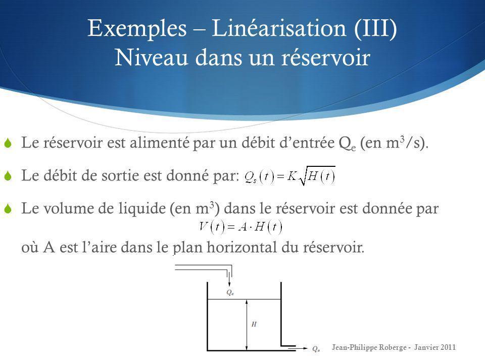 Exemples – Linéarisation (III) Niveau dans un réservoir