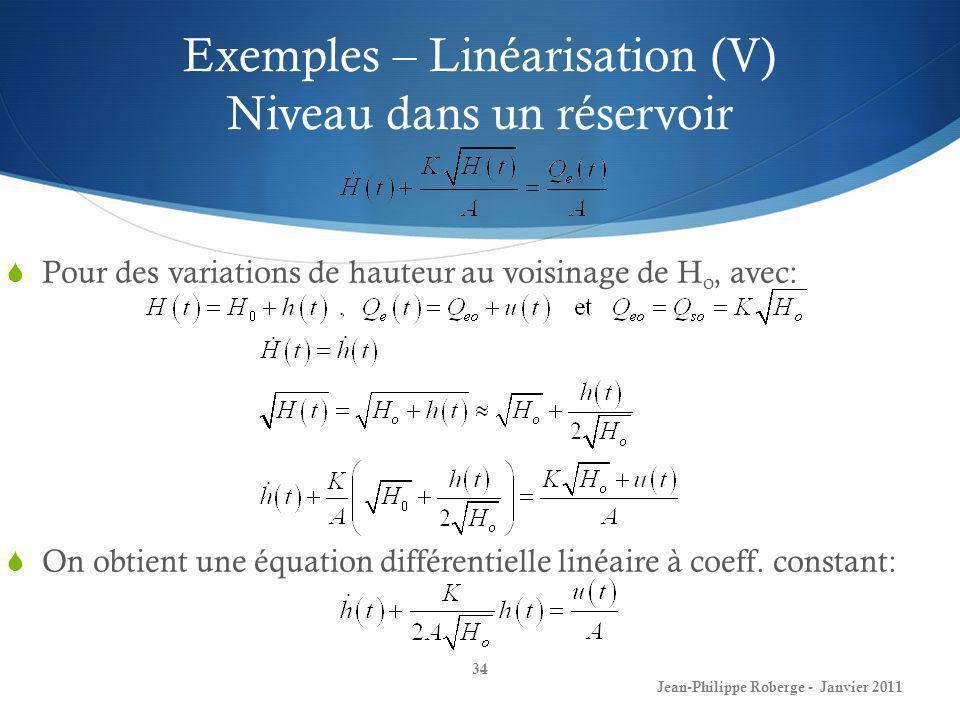 Exemples – Linéarisation (V) Niveau dans un réservoir