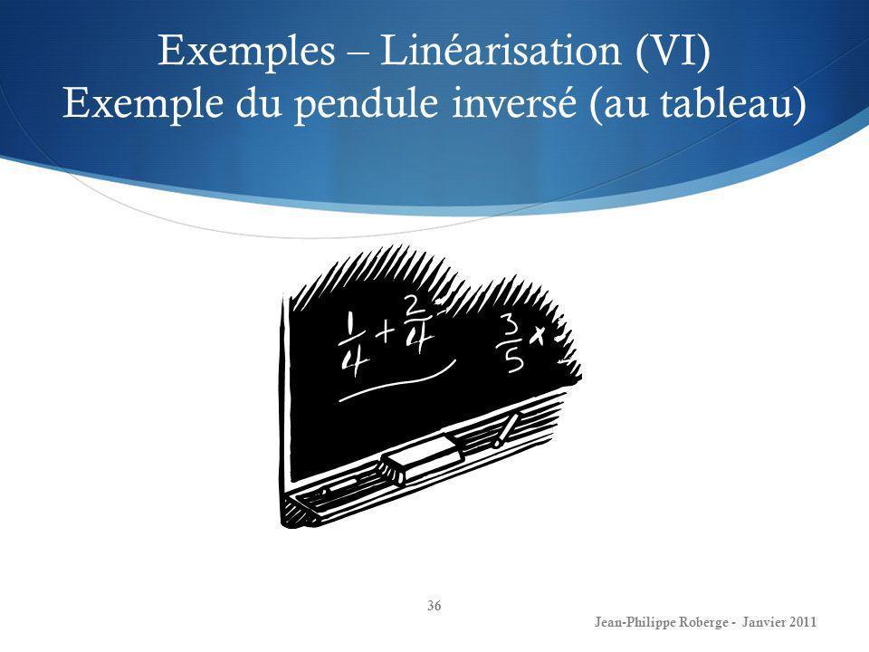 Exemples – Linéarisation (VI) Exemple du pendule inversé (au tableau)