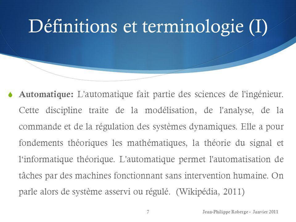 Définitions et terminologie (I)