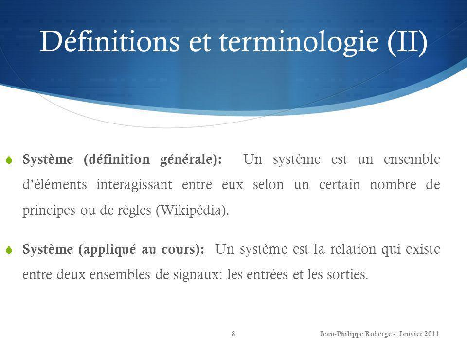 Définitions et terminologie (II)