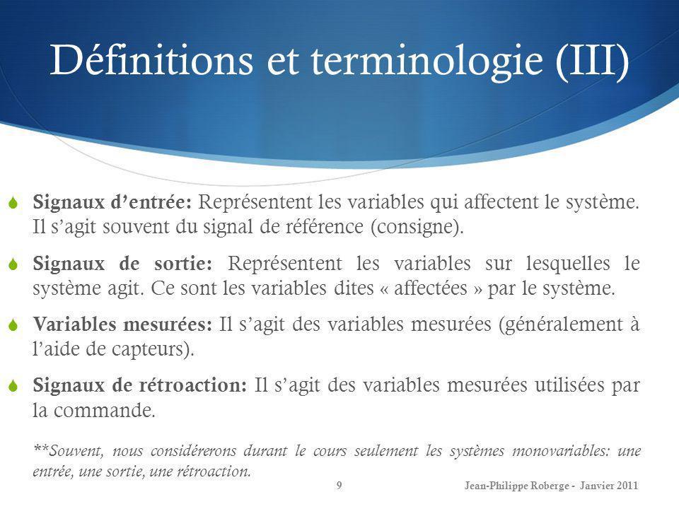 Définitions et terminologie (III)