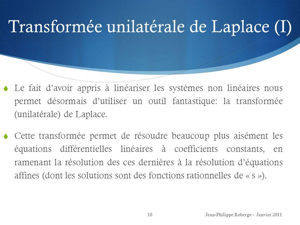 Transformée unilatérale de Laplace (I)