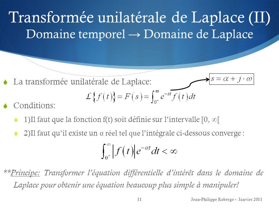 Transformée unilatérale de Laplace (II) Domaine temporel → Domaine de Laplace