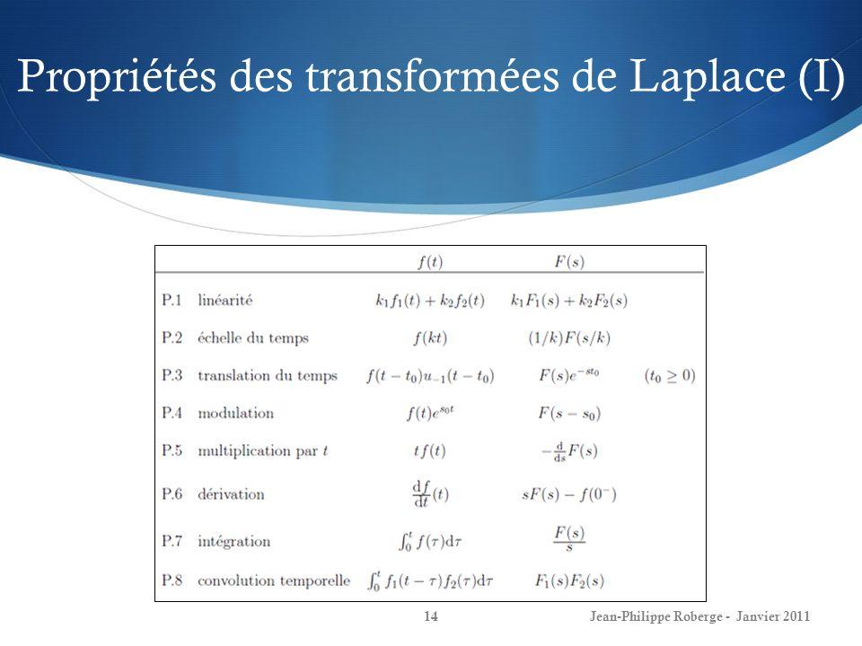 Propriétés des transformées de Laplace (I)