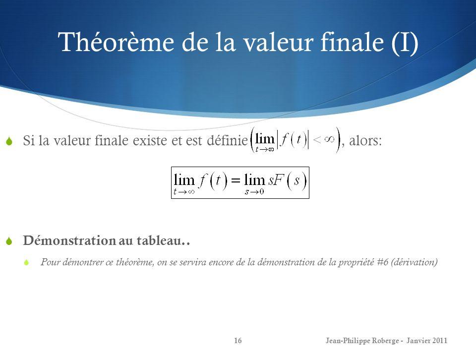 Théorème de la valeur finale (I)