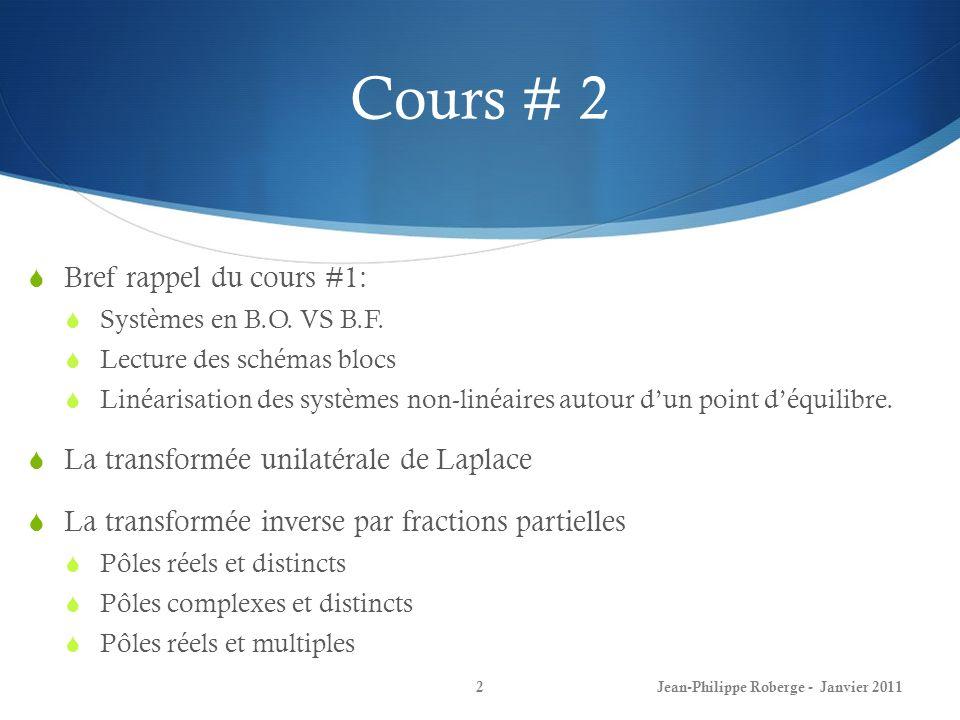 Cours # 2 Bref rappel du cours #1:
