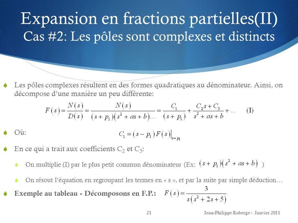 Expansion en fractions partielles(II) Cas #2: Les pôles sont complexes et distincts