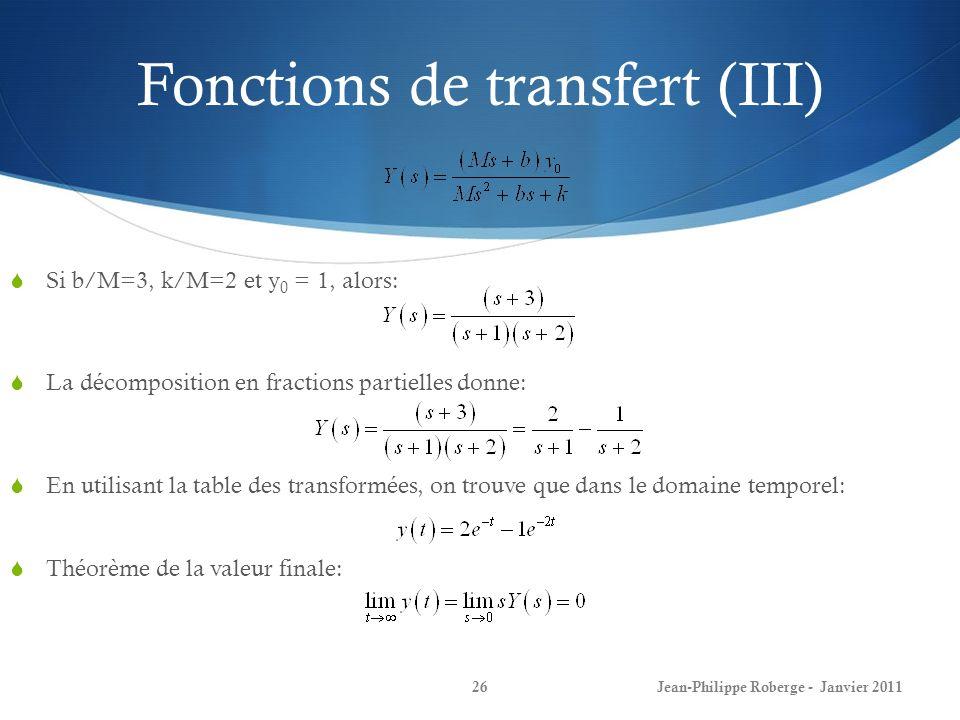 Fonctions de transfert (III)