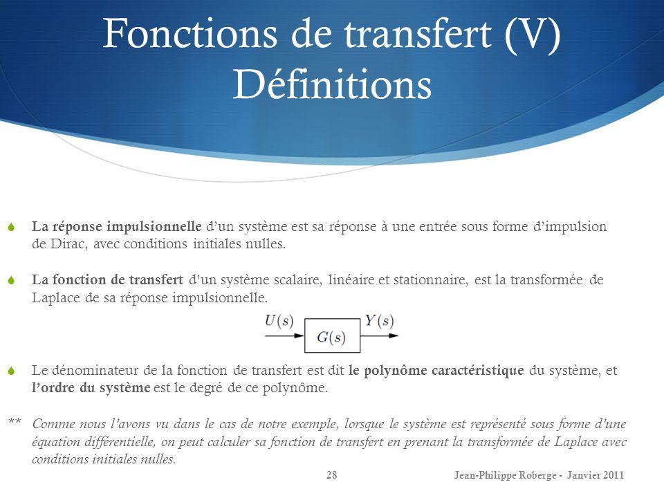Fonctions de transfert (V) Définitions