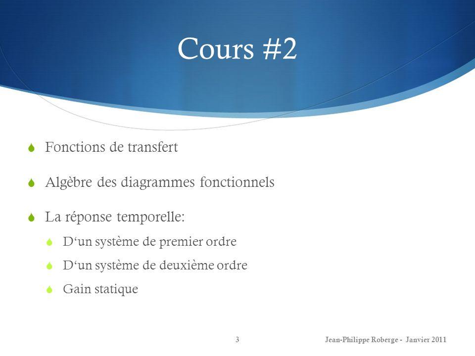 Cours #2 Fonctions de transfert Algèbre des diagrammes fonctionnels
