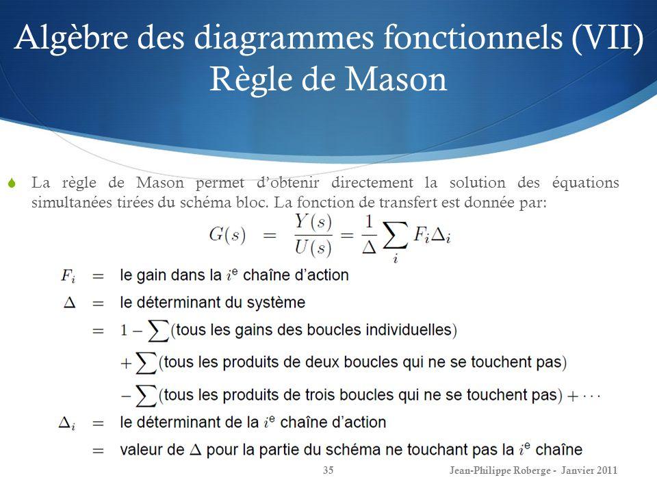Algèbre des diagrammes fonctionnels (VII) Règle de Mason