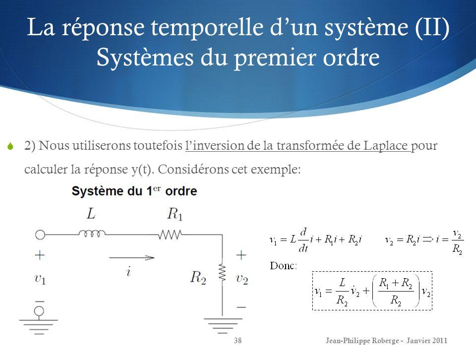 La réponse temporelle d'un système (II) Systèmes du premier ordre