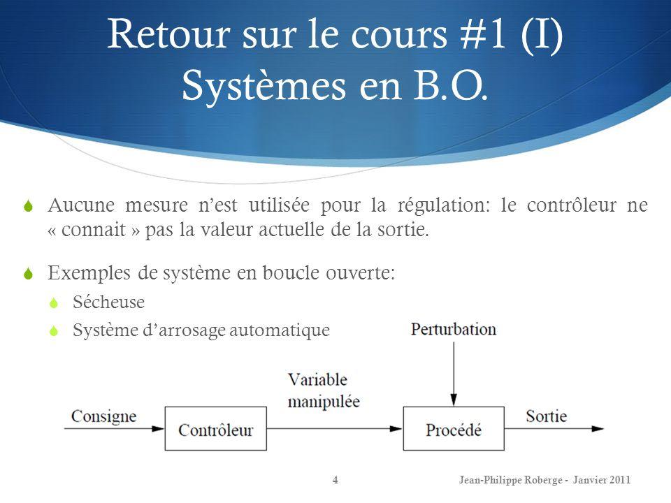 Retour sur le cours #1 (I) Systèmes en B.O.