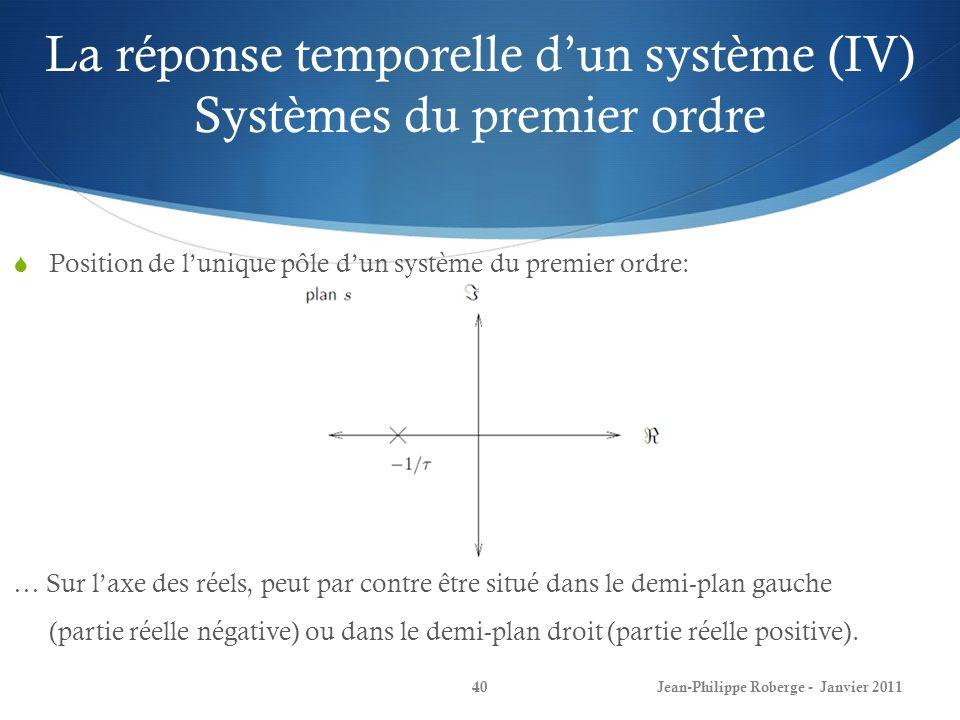 La réponse temporelle d'un système (IV) Systèmes du premier ordre