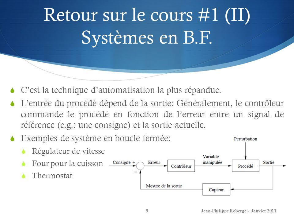 Retour sur le cours #1 (II) Systèmes en B.F.