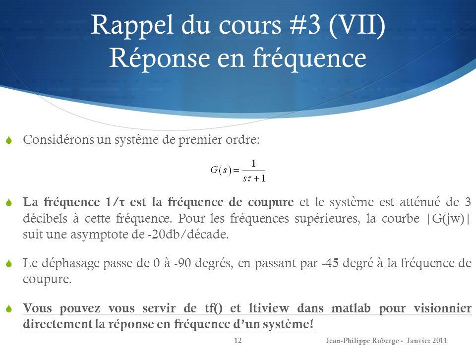 Rappel du cours #3 (VII) Réponse en fréquence