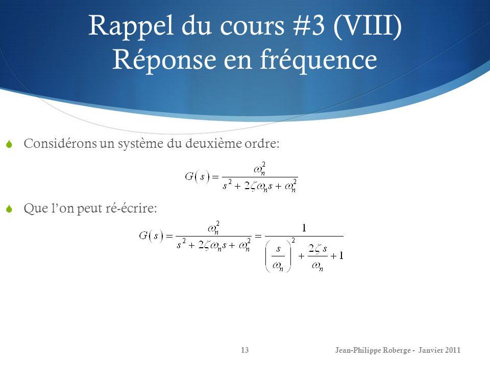Rappel du cours #3 (VIII) Réponse en fréquence