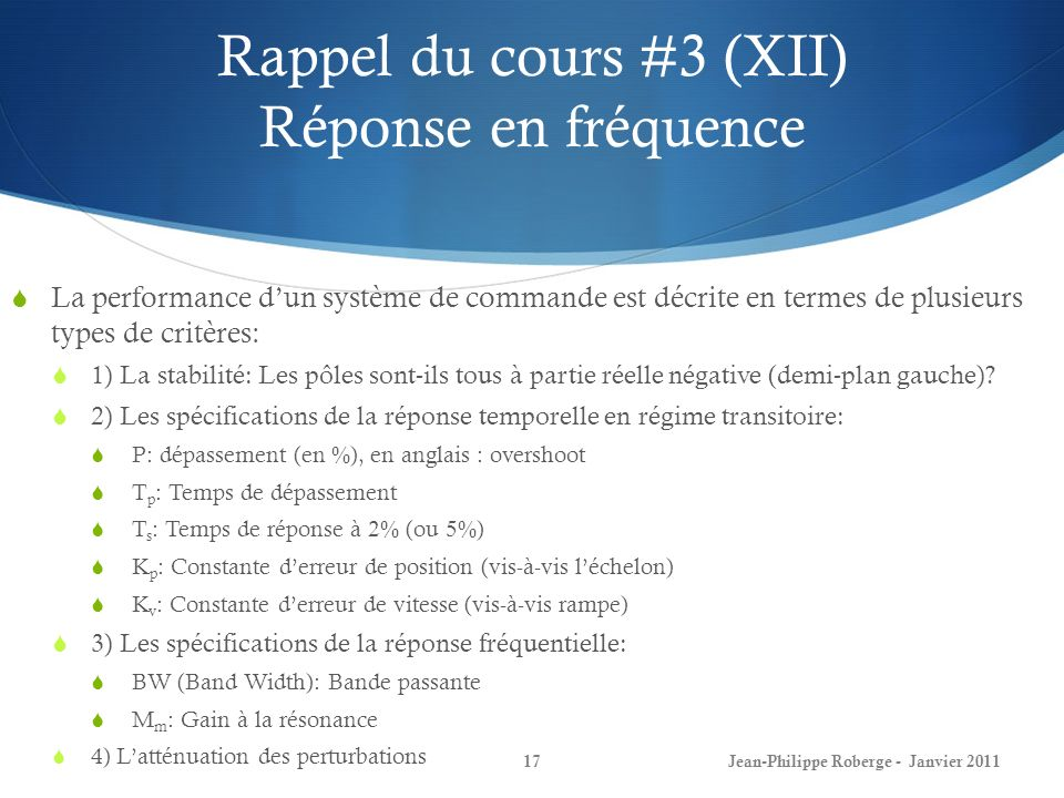 Rappel du cours #3 (XII) Réponse en fréquence