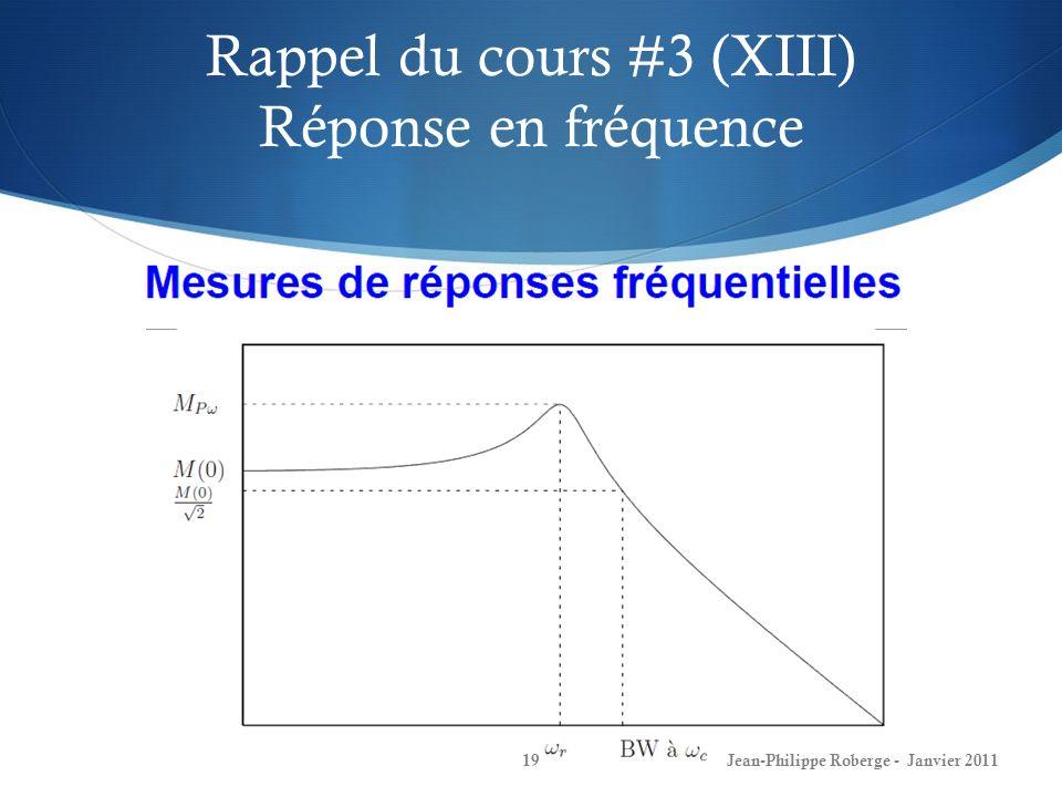 Rappel du cours #3 (XIII) Réponse en fréquence