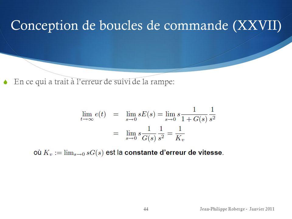 Conception de boucles de commande (XXVII)