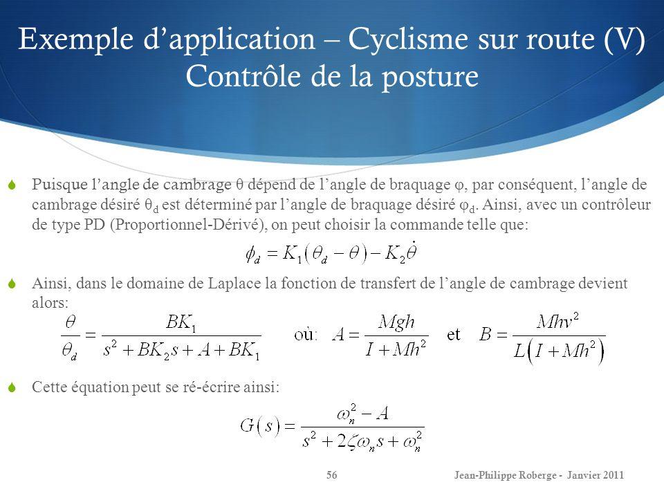 Exemple d'application – Cyclisme sur route (V) Contrôle de la posture