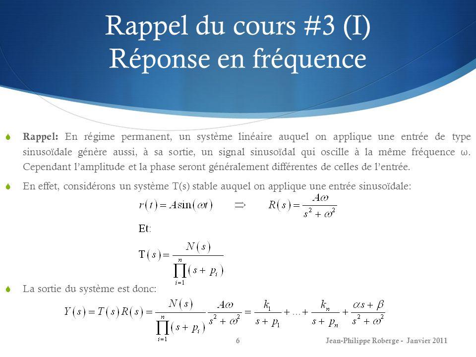Rappel du cours #3 (I) Réponse en fréquence