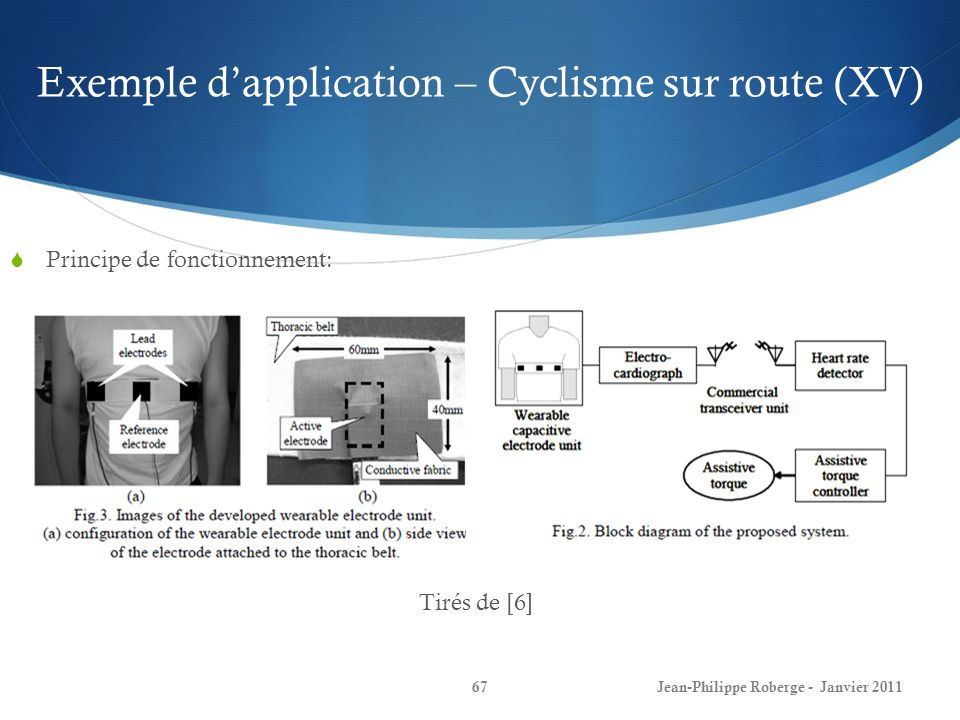 Exemple d'application – Cyclisme sur route (XV)