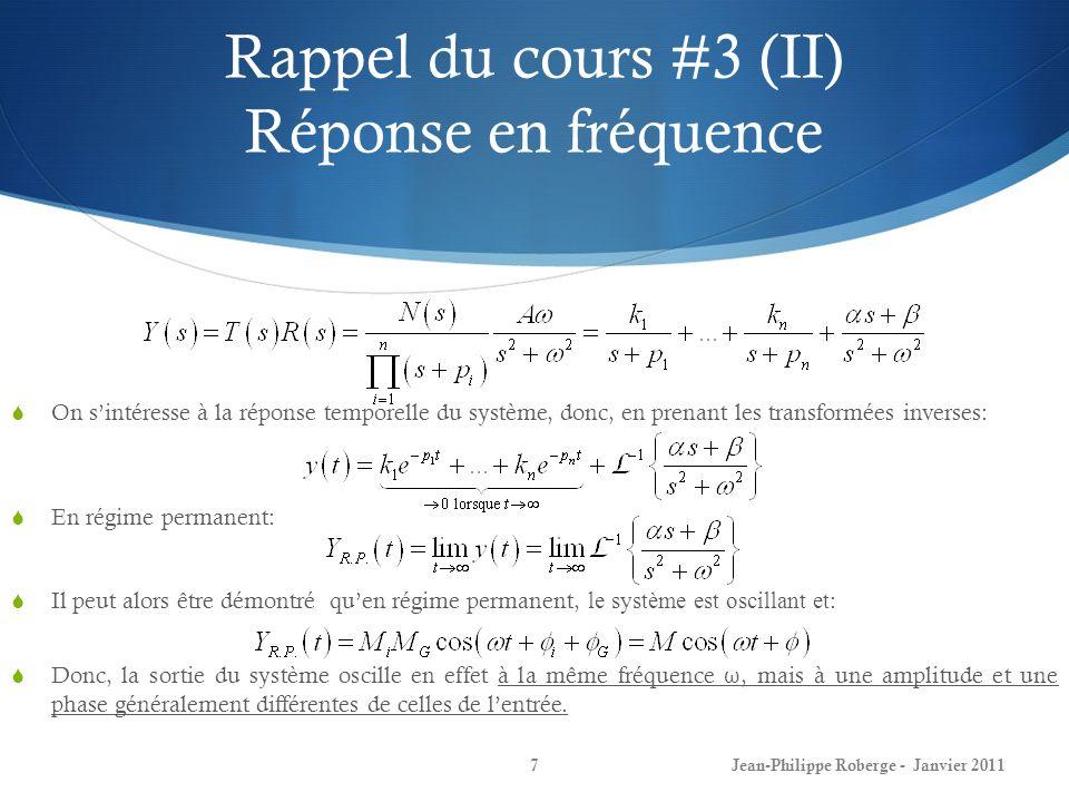 Rappel du cours #3 (II) Réponse en fréquence