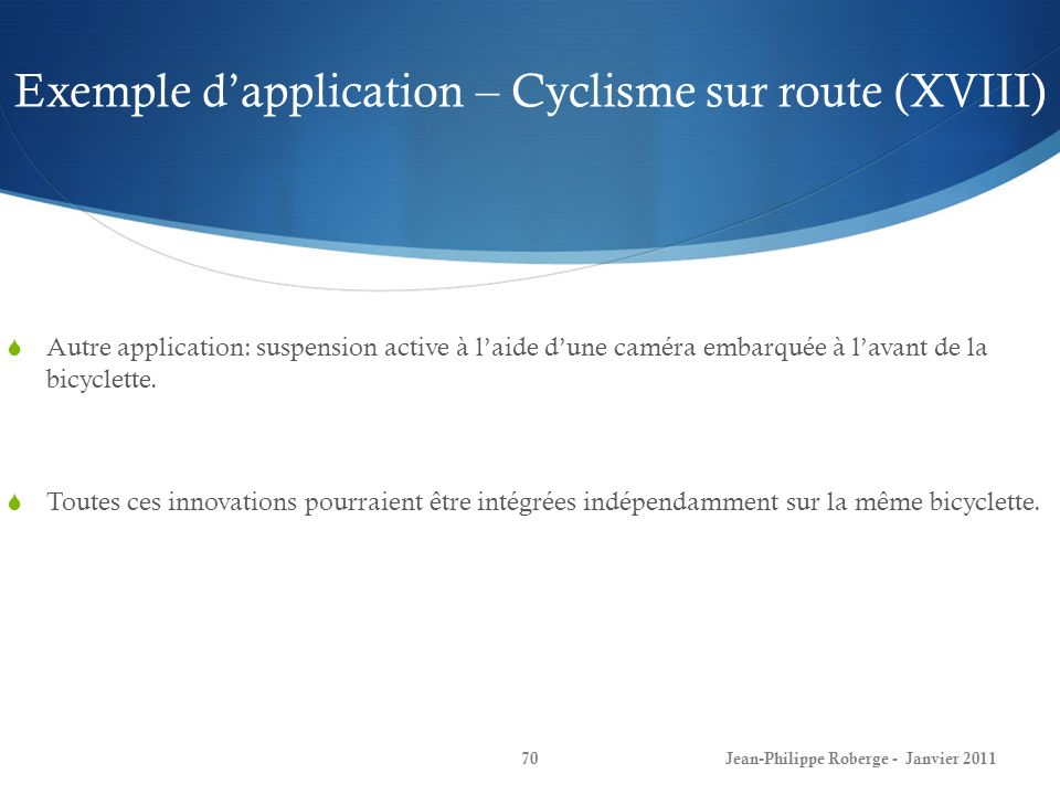 Exemple d'application – Cyclisme sur route (XVIII)