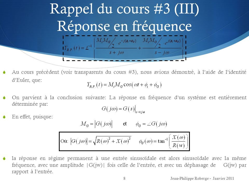 Rappel du cours #3 (III) Réponse en fréquence