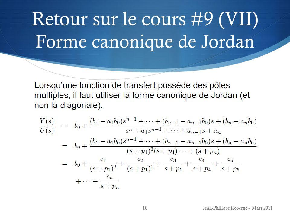 Retour sur le cours #9 (VII) Forme canonique de Jordan